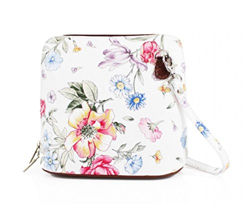 Floral Genuine Bag Body Vera or Shoulder Bag Cross Leather Pelle Italian Mini TAqp7O