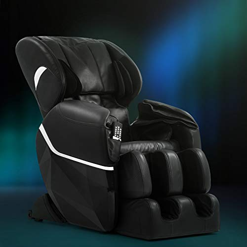 Shiatsu Massage Chairs Full Body and Recliner Zero Gravity Massage Chair Electric Affordable with Armrest Linkage System Built-In Heat Therapy Foot Roller Air Massage System Stretch Vibrating,Black