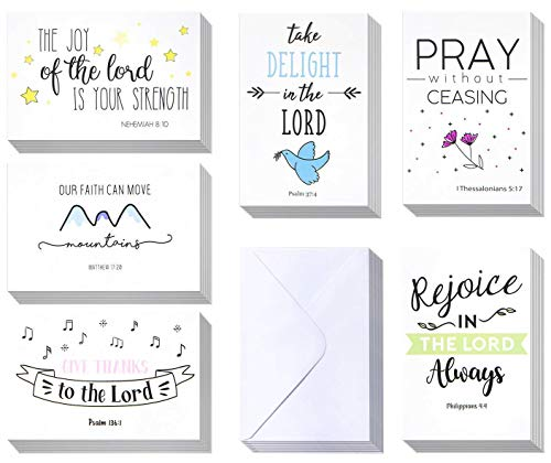 Inspirational Bible Verse Greeting Cards - 60 Pack Inspiring Christian Greeting Cards - Religious Motivational Cards - Bulk Boxed Christian Cards - Includes 60 Cards With Envelopes - 4 x 6 Inches