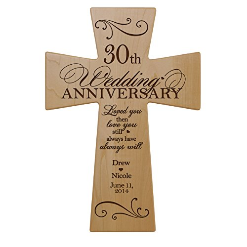 LifeSong Milestones Personalized 30th Wedding Anniversary Maple Wood Wall Cross Gift for Couple, 30 Year for Her, Thirtieth Wedding for Him (7x11)