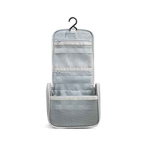 JORDAN & JUDY Travel Toiletry Wash Bag with Hanging Hook (Grey)
