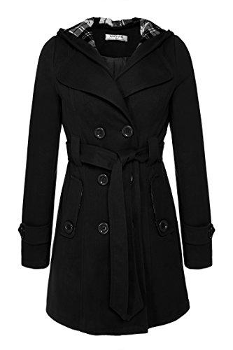 Belted Wool Jacket (Billti Women's Double Breasted Hooded Fleece Belted Winter Long Trench Jackets Coat, Black, X-Large)