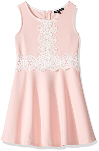 My Michelle Girls' Big Fit and Flare Dress with Crochet, Blush, 14 (Clothes My Michelle)