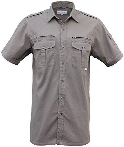 Foxfire Thunder River Gear Short Sleeve Cotton Travel Safari Shirt British Khaki