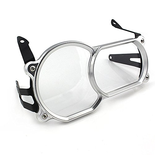 FATExpress Motorcycle Silver Front Headlight head Lamp Cover Guard Cover Protection Clear PC Len Lens Protector with Aluminum Frame For BMW R1200GS R 1200 GS LC Adventure ADV 2013 2014 2015 2016 Headlamp Guard