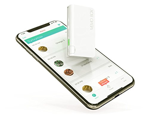 Memo Box Mini Bluetooth Electronic Pill Organizer and APP, Visual Audio Smart Pill Reminder Alarm, Automatic Medication Records Tracking and Family Meds Notification (Pill Box Smart)