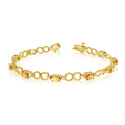 (3.10 Carat (ctw) 14k Yellow Gold Oval Yellow Citrine and Diamond Open Link Tennis Bracelet - 7