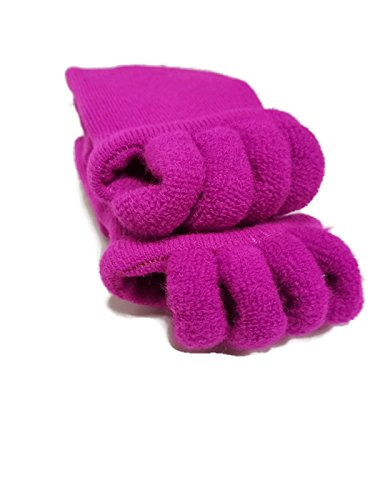 Toe Separator Yoga Gym Sports Massage Socks for Foot Alignment, Great for Sore Feet and Diabetics by TRiiM Fitness with FREE Exercise guide! (Fuchsia)