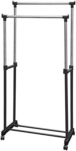 Hyfive Double Porte Vêtements Portatif Sur Roulettes Avec