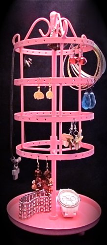 Earring Organizer Holder Stand Spins Earring-Go-Round Pink Metal Unique Gift Holds Up to 100 Pair All Type