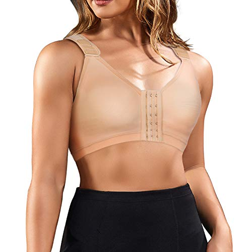 BRABIC Women Post-Surgical Sports Support Bra Front Closure with Adjustable Straps Wirefree Racerback (Beige Support Bra, L (fit for 36B 36C 36D 38A)) ()