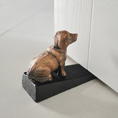 Cast Iron Door Stop - Decorative Rustic Door Stoppers- Stop Your Bedroom, Bath and Exeterior Doors 3.9x5.9(Black with Red (Cast Iron Dog Door Stop)