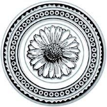 Inkadinkado Personal Impressions Stamp-Round Daisy Icon & - Round Border Rubber Stamp