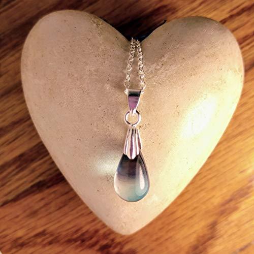 Teardrop Lampwork Glass - Glass Lampwork Mermaid Teardrop Necklace Light Blue-Mauve