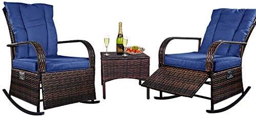 ENSTVER 3 Piece Reclining Wicker Outdoor Lounge Chair Set,Patio Conversation Rocking Chairs Bistro Set