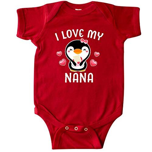 (inktastic - I Love My Nana with Cute Penguin Infant Creeper Newborn Red 342d4)