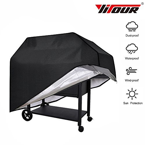Yitour Portable Waterproof BBQ Grill Cover Heavy-Duty 600d Patio Outdoor Black Electric Metal Charcoal Barbecue Smoker Cover,Fits 24-36 Inch Round Grill,Outside Square (Portable Patio Covers)
