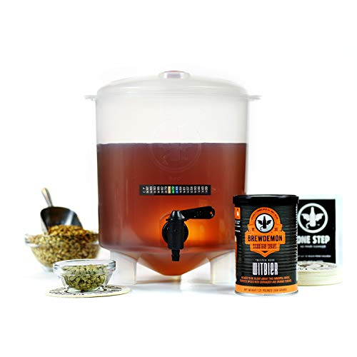 BrewDemon Twisted Monk Witbier Beer Making Kit: Easy To Use All-Malt Starter Set With Reusable Baby Conical Fermenter, Equipment and Ingredients - Make Wicked-Good Beer At Home Fast and Easy