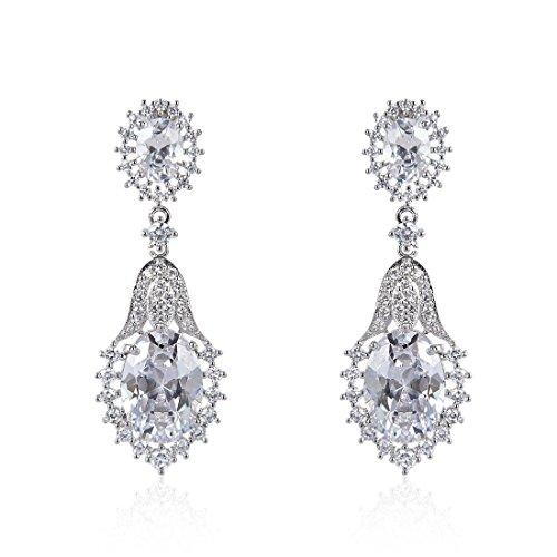 Triple Oval Earrings (Wordless Love Drop Earrings with Oval Shape AAA Cubic Zirconia Wedding Pierced Earrings for Women)
