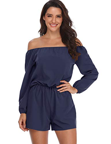 MISS MOLY Women Rompers and Jumpsuits Off The Shoulder Strapless Boat Neck Shorts with Belt,Navy Blue # 3,Large -