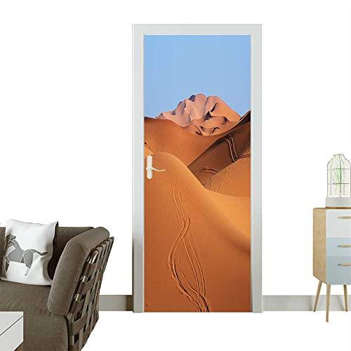 Homesonne Decorative Door Decal Morocco Sand Dunes of Sahara Desert Stick The Picture on The Door W23 x H70 ()