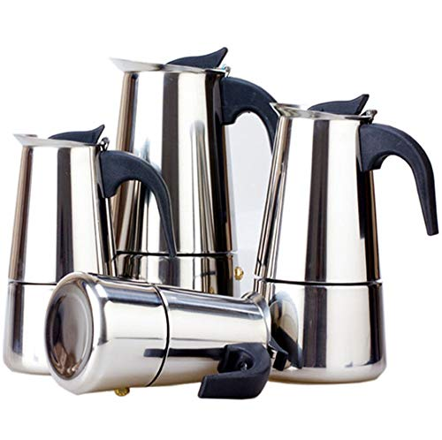 IN-TO Stovetop Espresso Maker Moka Pot, 304 Stainless Steel, 2/4/6/9/12 Cup ()