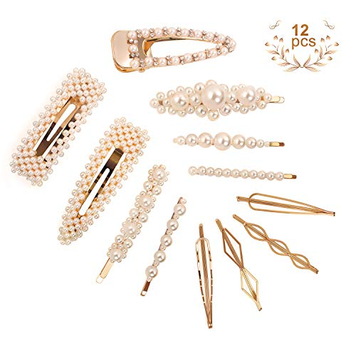 CINEEN 12 Pcs Pearl Hair Clips for Women Girls Fashion Hair Accessories Bling Pins Hair Barrettes for Party Wedding Birthday Gifts