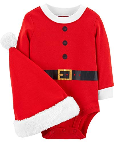 Carter's Unisex Baby 2-Piece Christmas Bodysuit & Hat Set (6 Months, Red Santa)