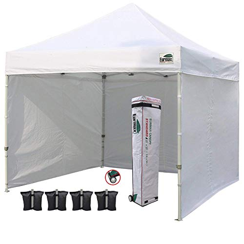Eurmax Commercial 10'x10' Ez Pop-up Canopy Instant Tent with 4 SideWalls Roller Bag,Bonus 4 Sandbags, 1-White