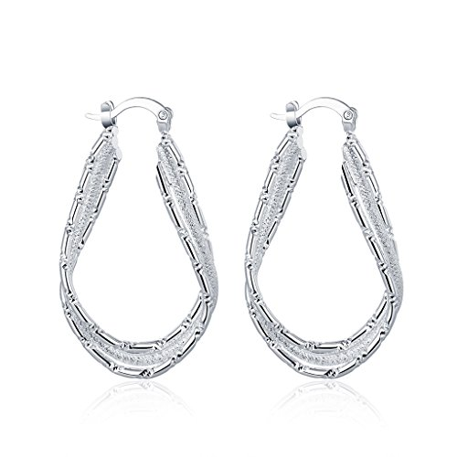 Price comparison product image Acxico Fashion 925 Sterling Silver Large Flat U Shape Hoop Earrings for women