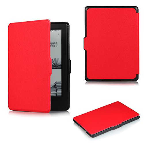 AllNew Kindle 8th Gen EReader Smart Case soundmae UltraThin Magnetic Close Book Flip Auto Sleep Awake Case Cover For Amazon Kindle Touchscreen 6 inch NoLight 2016 Version Red