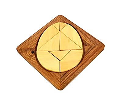 """Handmade Wood Egg Tangram Puzzle With 9 Pieces - Puzzles and Games for Kids - 6"""""""