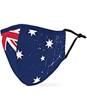 Weddingstar Adult Washable Cloth Face Mask Reusable and Adjustable Protective Fabric Face Cover w/Dust Filter Pocket - Australia Flag