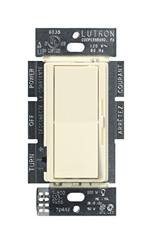 (Lutron Diva C.L Dimmer for Dimmable LED, Halogen and Incandescent Bulbs, Single-Pole or 3-Way, DVCL-153P-AL, Almond)