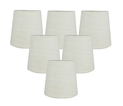 Meriville Set of 6 Eggshell Linen Clip On Chandelier Lamp Shades, 4-inch by 5-inch by 5-inch