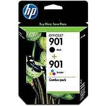 HP CN069FN#140 901 Black & Tri-color Original Ink Cartridges, 2 Cartridges (CC653AN, CC656AN)