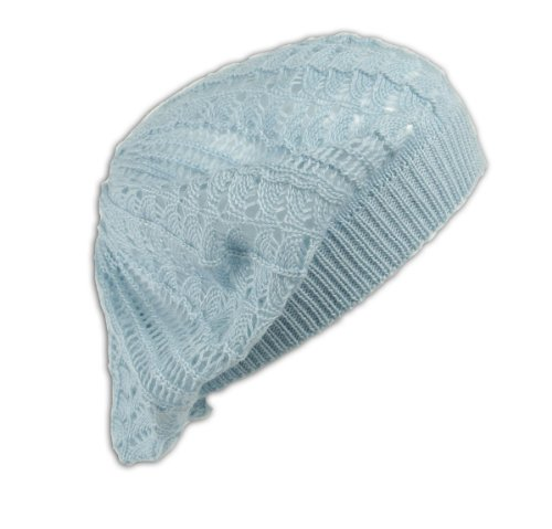 Womens Fashion Crochet Beanie Hat Knit Beret Skull Cap Tam (Baby Blue)