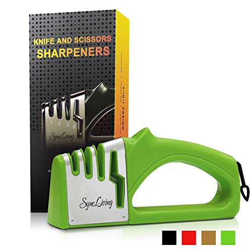 Sync Living Knife and Scissor Sharpeners,4 Stage Knife Sharpener, 4-in-1 Knife and Scissors Sharpener with Diamond, Ceramic, Tungsten, Kitchen Tools for Kinds of Knives, Green