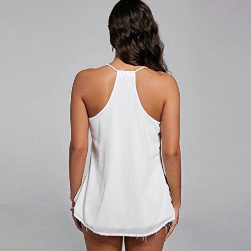 FNKDOR Chaleco de gasa de las mujeres sin mangas blusa de tanque casual tapas camiseta Blanco
