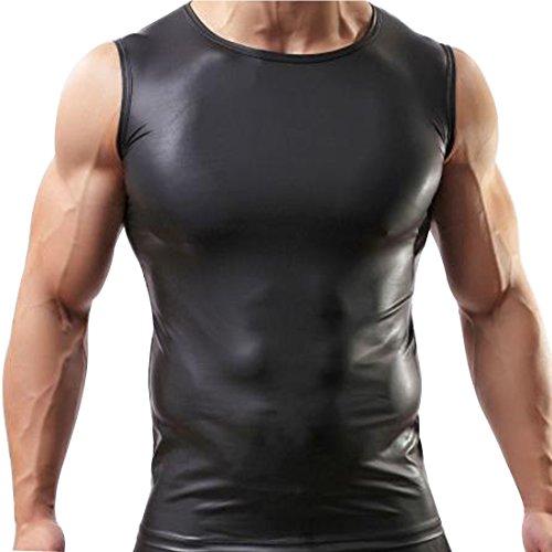 YiZYiF Sexy Mens Underwear T-Shirt Sleeveless Vest Tank Top Leather Undershirt X-Large, Black - Leather Tank