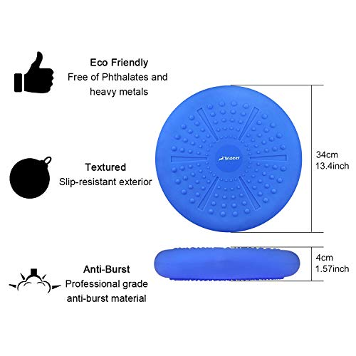 Trideer Inflated Stability Wobble Cushion with Pump, Flexible Seating Classroom, Extra Thick Core Balance Disc, Wiggle Seat for Sensory Kids (Office & Home & School) (33cm Matte Blue)