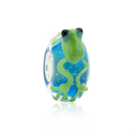 The Kiss Cute Green Frog Murano Glass 925 Sterling Silver Charm Bead Fits European Style Bracelets ()