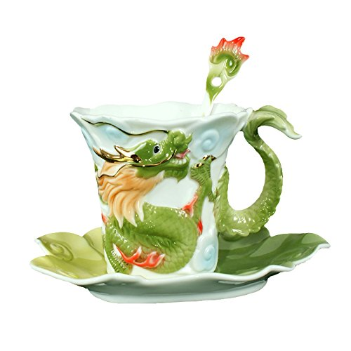 Choholete Porcelain Coffee Cup Set Raised Gilted Dragon 1 Cup 1 Saucer 1 Spoon -
