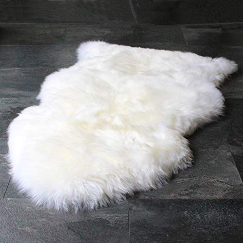 Outlavish Sheepskin Rug Genuine Soft Natural Merino (2' x 3' White/Ivory) Eco Leather Club Chair