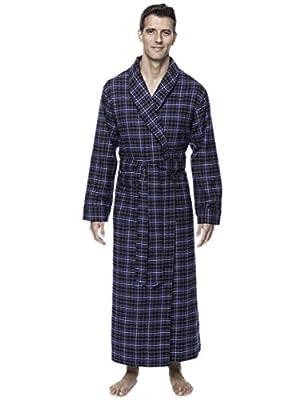 Noble Mount Mens Premium 100% Cotton Flannel Long Robe