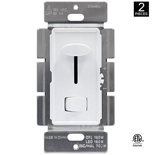Xtricity Dimmer Switch for Dimmable LED, CFL, Halogen, 700 Watt Max, 120 volts - 60HZ, 3 way or Single Pole, White Cover, (Pack of 2)