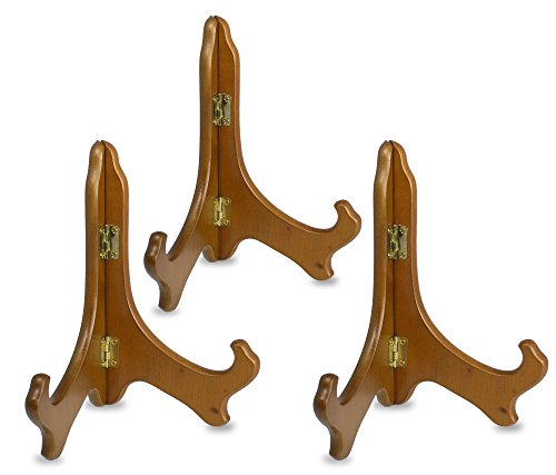 Wood Easels Folding Display Plate Stand Premium Quality Walnut - 7 Inch - Set of 3 Pieces
