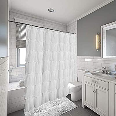 Gee Di Moda Gypsy Ruffled Shower Curtain 100 Polyester Fabric Bathroom Drapes Housewarming Gift 70 Inch Wide By 72 Inch Long White