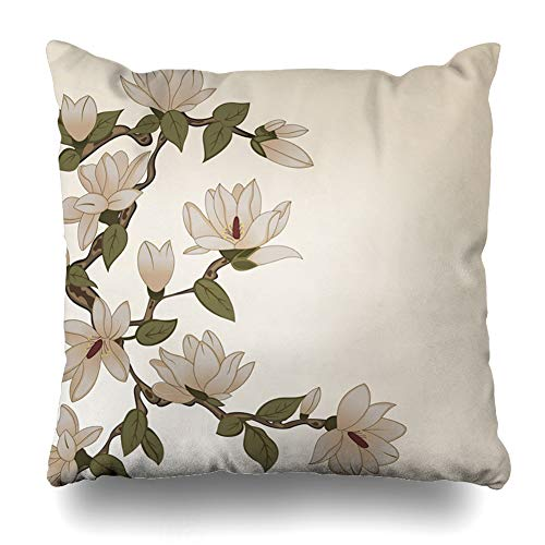 Ahawoso Decorative Throw Pillow Cover Square 18x18 Pink Classic Magnolia Stylized Flowers On Branch Romance Collection Style Cute Floral Flourish Garden Zippered Pillowcase Home Decor Cushion Case from Ahawoso