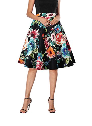 Yanmei Women's Vintage A-line Floral Print Skirt Flared Midi Skirts Black Large 1086-4
